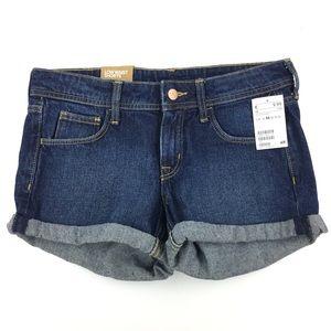 & Denim Cuffed Dark Wash Jean Shorts Size 6
